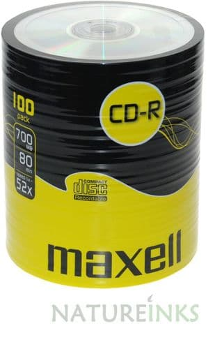 100 Genuine Maxell Blank CD-R CD discs 80 Min 700MB Extra Protection 624037 Shrinkwrap