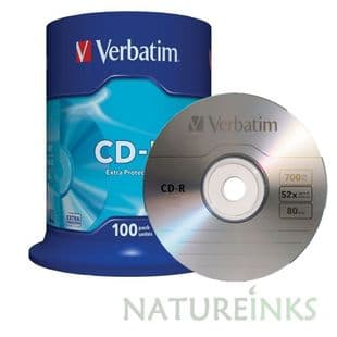 100 Genuine Verbatim Extra Protection 43411 CD-R 52x 700MB 80m Blank CD Discs