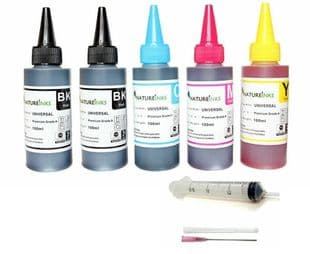 5 Natureinks Premium Dye Based Bottles Set ( 500ml ) + 4 x 30ml syringes