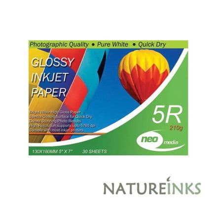 Neo 5R 210gsm Gloss Coated Paper Neo 5 x 7 5R photo quality inkjet paper is the ideal paper for pri