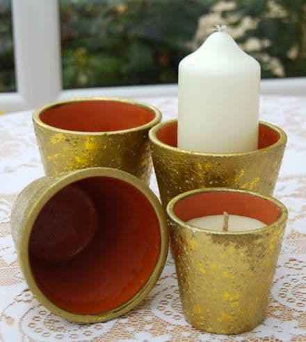 Gold Clay Candle Pots