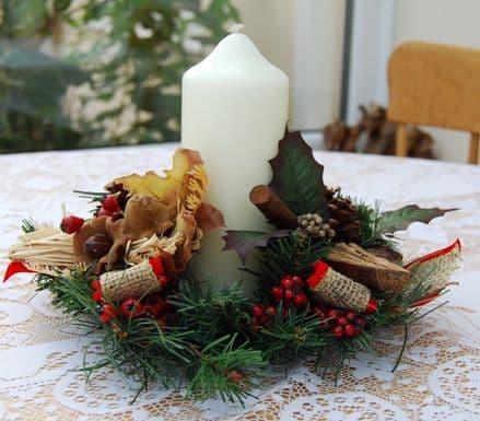 """Pine,Wood,Corn/Nut 3"""" Candle Ring"""