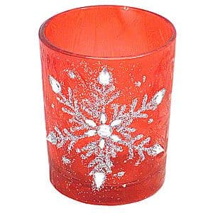 Snowflake Candle Votive Red