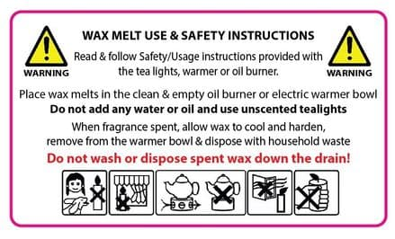 Wax Melt Usage/ Warning Labels