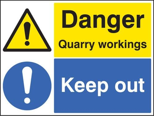 14292Q Danger quarry workings keep out Rigid Plastic (600x450mm) Safety Sign