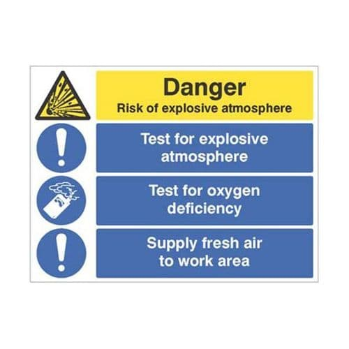 14302Q Risk of exp. atmosphere, test oxygen deficiency, supply fresh air sign - Rigid (600x450mm)
