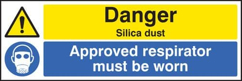 14530G Danger silica dust Approved respirator must be worn Rigid Plastic (300x100mm) Safety Sign