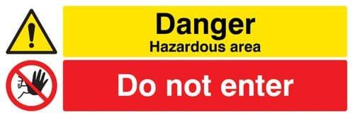 14533G Danger hazardous areas Do not enter Rigid Plastic (300x100mm) Safety Sign
