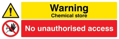 14534M Warning Chemical store No unauthorised access Rigid Plastic (600x200mm) Safety Sign
