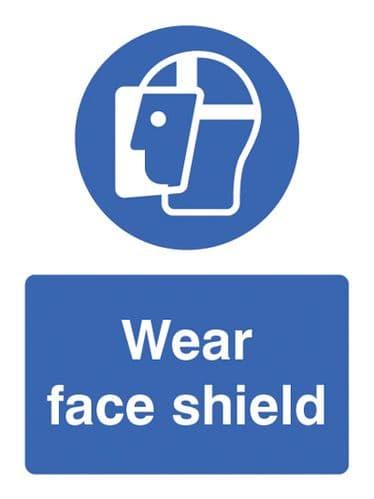15001E Wear face shield Rigid Plastic (200x150mm) Safety Sign