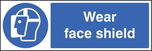 15001M Wear face shield Rigid Plastic (600x200mm) Safety Sign
