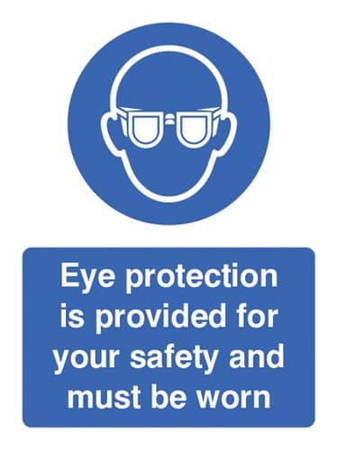 15002E Eye protection provided for your safety and must be worn Rigid Plastic (200x150mm)