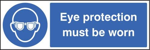 15003M Eye protection must be worn Rigid Plastic (600x200mm) Safety Sign