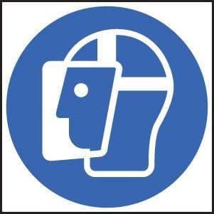 15007F Face shield symbol Rigid Plastic (200x200mm) Safety Sign
