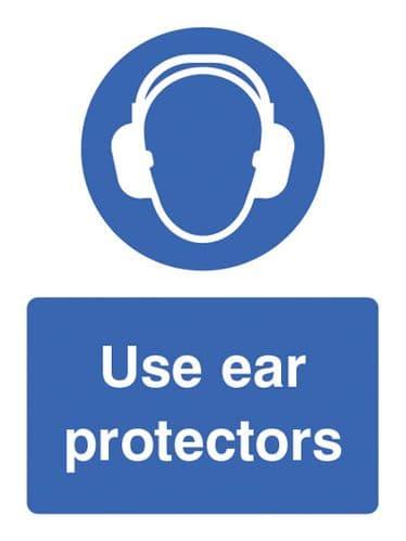 15012E Use ear protectors Rigid Plastic (200x150mm) Safety Sign