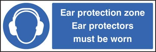 15013G Ear protection zone ear protectors must be worn Rigid Plastic (300x100mm) Safety Sign