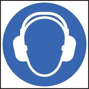 15014F Ear protection symbol Rigid Plastic (200x200mm) Safety Sign