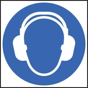 15014N Ear protection symbol Rigid Plastic (400x400mm) Safety Sign
