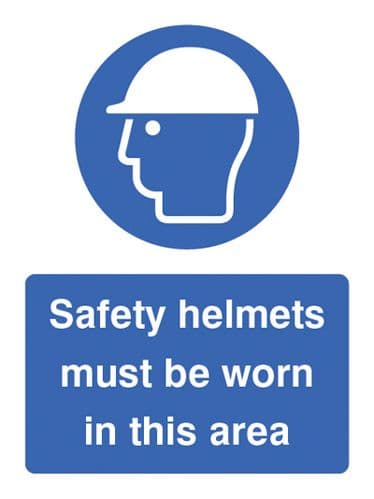15016E Safety helmets must be worn in this area Rigid Plastic (200x150mm) Safety Sign