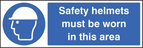15016M Safety helmets must be worn in this area Rigid Plastic (600x200mm) Safety Sign