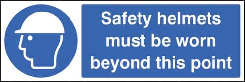 15018G Safety helmets must be worn beyond this point Rigid Plastic (300x100mm) Safety Sign