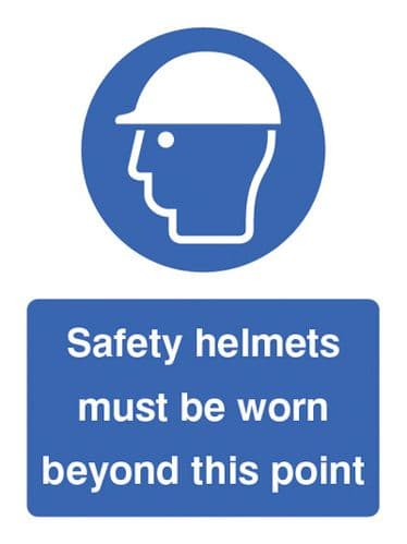 15018K Safety helmets must be worn beyond this point Rigid Plastic (400x300mm) Safety Sign