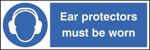 15023M Ear protectors must be worn Rigid Plastic (600x200mm) Safety Sign