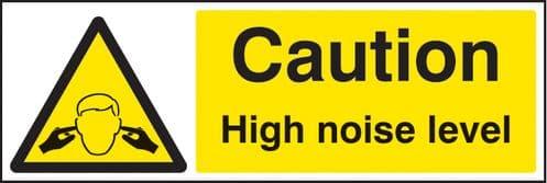 15220M Caution high noise level Rigid Plastic (600x200mm) Safety Sign