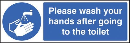 15424G Please wash your hands after going to toilet Rigid Plastic (300x100mm) Safety Sign