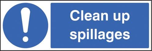 15427M Clean up spillages Rigid Plastic (600x200mm) Safety Sign