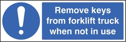 15448G Remove keys from forklift truck when not in use Rigid Plastic (300x100mm) Safety Sign