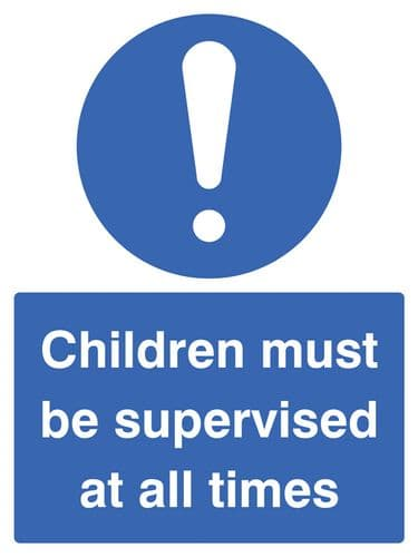15465E Children must be supervised at all times Rigid Plastic (200x150mm) Safety Sign