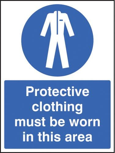 15603E Protective clothing must be worn in area Rigid Plastic (200x150mm) Safety Sign