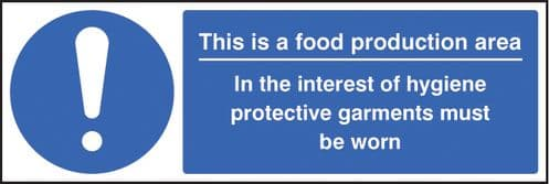 15605G Food production area PPE garments must be worn Rigid Plastic (300x100mm) Safety Sign