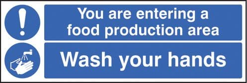 15620M You are entering food production area wash your hands Rigid Plastic (600x200mm) Safety Sign