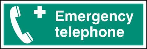 16010M Emergency telephone Rigid Plastic (600x200mm) Safety Sign