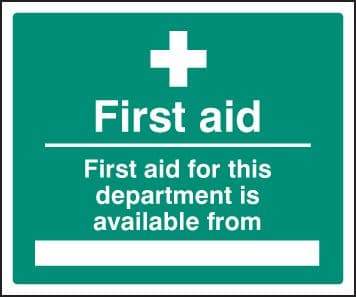 16018H First aid for department available from Rigid Plastic (300x250mm) Safety Sign