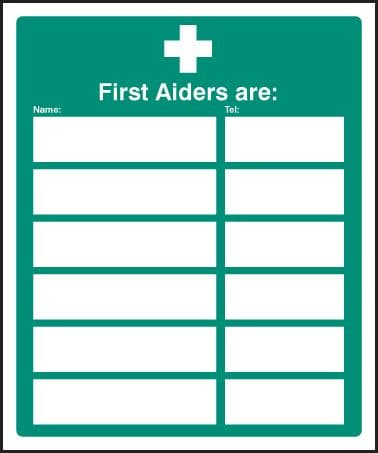 16022H First aiders are (space for 6) Rigid Plastic (300x250mm) Safety Sign