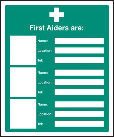 16023H First aiders are (space for 3) Rigid Plastic (300x250mm) Safety Sign