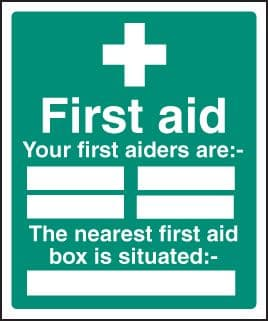 16027H First aiders the nearest first aid box is situated Rigid Plastic (300x250mm) Safety Sign