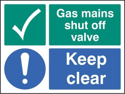 16035K Gas mains shut off valve keep clear Rigid Plastic (400x300mm) Safety Sign