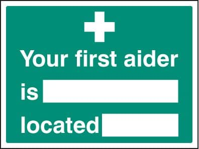 16038K Your first aider is located Rigid Plastic (400x300mm) Safety Sign