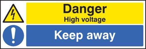 16219M Danger high voltage keep away Rigid Plastic (600x200mm) Safety Sign
