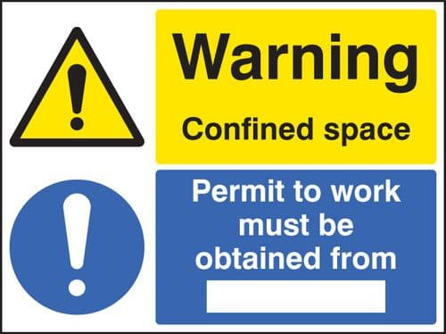 16262H Warning confined space permit to work must be obtained Rigid Plastic (300x250mm) Safety Sign