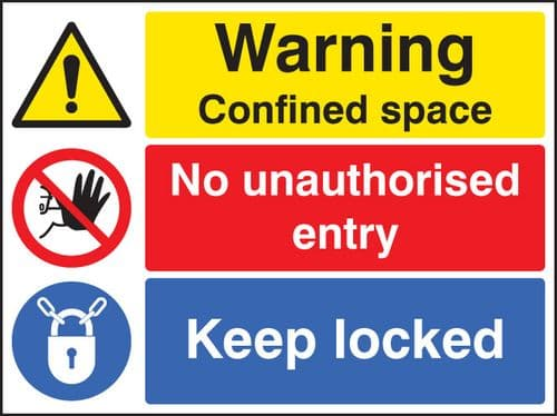 16263H Warning confined space no entry keep locked Rigid Plastic (300x250mm) Safety Sign
