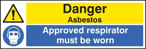16271M Danger asbestos approved respirator must be worn Rigid Plastic (600x200mm) Safety Sign