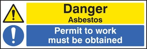 16272G Danger asbestos permit to work must be obtained Rigid Plastic (300x100mm) Safety Sign