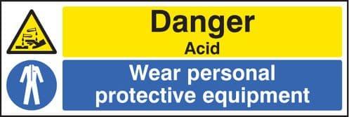 24266G Danger acid wear PPE Self Adhesive Vinyl (300x100mm) Safety Sign
