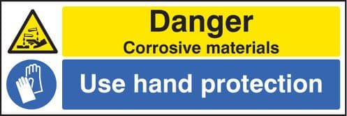 24267G Danger corrosive materials use hand protection Self Adhesive Vinyl (300x100mm) Safety Sign