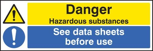 24269M Danger hazardous substances see data sheets Self Adhesive Vinyl (600x200mm) Safety Sign